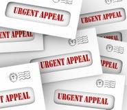 Los sobres urgentes de la súplica enviaron la súplica importante del mensaje que pedía lunes ilustración del vector