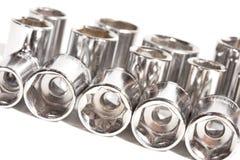 Los socketes de la llave del metal se cierran para arriba Foto de archivo libre de regalías