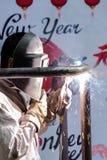 Los soldadores están funcionando en el Año Nuevo Foto de archivo libre de regalías