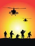 Los soldados agrupan, los helicópteros militares stock de ilustración