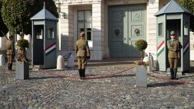 Los soldados del guardia presidencial realizan el cambio del ceremonial del guardia almacen de video