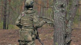 Los soldados en camuflaje con las armas del combate hacen su manera fuera del bosque, con el objetivo de capturarlo, los militare metrajes