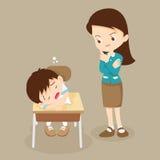 Los soportes del profesor que miran al muchacho del estudiante duermen ilustración del vector