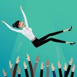 Los subordinados lanzan encima de mujer de negocios ilustración del vector