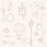 Los sueños dulces - diseñe los elementos para el libro de recuerdos del bebé Imágenes de archivo libres de regalías