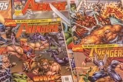 Los super héroes de los tebeos de la maravilla de los vengadores fotos de archivo libres de regalías
