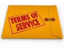 Los términos de la TOS del sobre del amarillo del servicio condicionan el contrato Restric Foto de archivo libre de regalías