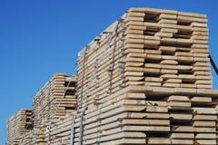 Los tablones de madera de la construcción de la pila explotan los árboles la materia prima Foto de archivo