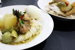 Los tallarines tailandeses de la harina de arroz pusieron al lado del curry del verde del pollo fotografía de archivo