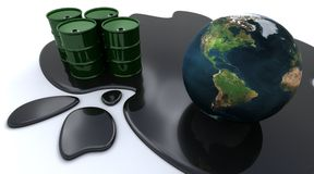 Los tambores y el globo de petróleo se sentaron en petróleo derramado ilustración del vector