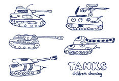 Los tanques cómicos de las historietas Bosquejos del vector fijados Foto de archivo libre de regalías