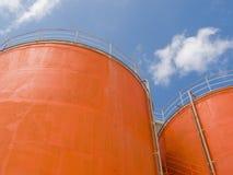 Los tanques de acero del silo Imagen de archivo