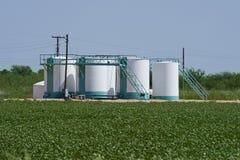Los tanques de almacenaje del pozo de petróleo. Imagen de archivo libre de regalías