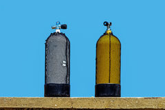 Los tanques de oxígeno del buceo con escafandra Imagen de archivo