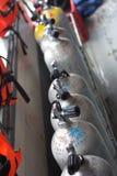 Los tanques del aire del buceo con escafandra Foto de archivo libre de regalías