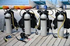 Los tanques del equipo de submarinismo Fotografía de archivo