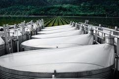 Los tanques del proceso del acero inoxidable en un viñedo Imagen de archivo libre de regalías