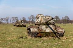Los tanques en un prado cerca de Sögel Foto de archivo