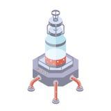 Los tanques para la industria del líquido, del sustancia químico o alimentaria Vector el ejemplo en la proyección isométrica, ais ilustración del vector