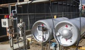 Los tanques químicos del cloro de la torre de enfriamiento Imagen de archivo libre de regalías