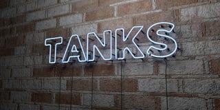 LOS TANQUES - Señal de neón que brilla intensamente en la pared de la cantería - 3D rindió el ejemplo común libre de los derechos libre illustration
