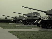 Los tanques T34 y armas automotores ( У-100 del ¡Ð de Ð) Foto de archivo libre de regalías