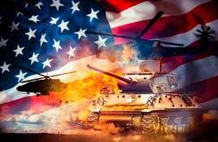 Los tanques y helicópteros Fotografía de archivo