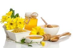 Los tarros de miel, dos arcos con la miel y uno con polen Imágenes de archivo libres de regalías