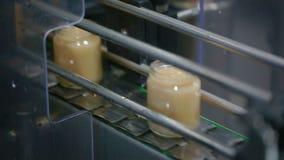 Los tarros mueven la banda transportadora ancha en la fábrica Vídeo con el sonido almacen de metraje de vídeo