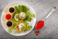Los Tartlets llenaron de la ensalada roja y negra del caviar y del queso y del eneldo en la placa blanca contra el fondo de mader Foto de archivo libre de regalías