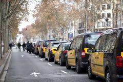 Los taxistas pegan en Barcelona foto de archivo