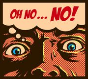 Los tebeos del vintage del arte pop diseñan al hombre en un pánico con la cara aterrorizada que mira fijamente algo ejemplo impac ilustración del vector