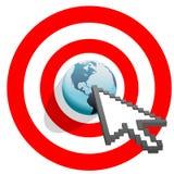 Los tecleos de la flecha del Internet apuntaron el ojo de toros del mundo ilustración del vector
