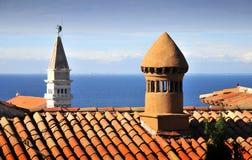 Los tejados de Piran Fotos de archivo