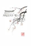 Los tejados y las manzanas del sumi-e del estilo japonés entintan la pintura libre illustration