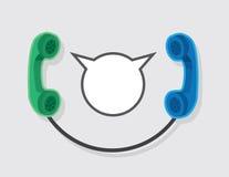 Los teléfonos conectaron la burbuja del discurso ilustración del vector