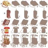Los teléfonos sombrean el juego visual Solución: A2, B4, C1, D3, E4 Foto de archivo libre de regalías