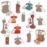 Los teléfonos sombrean el juego visual Solución: A7, B6, C5, D3, E2, F4, G1 Imagen de archivo