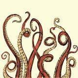 Los tentáculos dibujados mano del vector en una madera áspera cortaron estilo Fotos de archivo