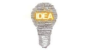 Los textos numerosos hacen la luz de bulbo, mostrando el ver 3 del 'IDEA' stock de ilustración
