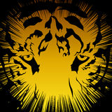 Los tigres dirigen negro en un color de fondo amarillo stock de ilustración