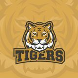 Los tigres resumen la muestra, el emblema o a Logo Template del vector Deporte cl?sico Team Mascot Label Cara animal despredadora ilustración del vector