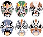 Los tipos de maquillaje facial en la ópera de Pekín fijaron siete Fotos de archivo libres de regalías