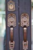 Los tiradores de puerta se hacen del acero. modelo hermoso. Foto de archivo libre de regalías