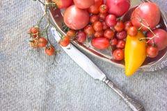 Los tomates anaranjados de los tomates de tomates de los tomates rojos coloridos del amarillo con agua caen en el fondo concreto  Fotografía de archivo