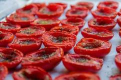Los tomates frescos se convertirán en los secos pronto Imagenes de archivo