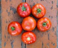 Los tomates frescos secan la tabla superficial del vintage Imagen de archivo libre de regalías