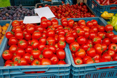 Los tomates maduros rojos venden en el mercado de los granjeros en día del otoño en las cajas plásticas azules con otras verduras Foto de archivo libre de regalías