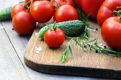 Los tomates, los pepinos, el estragón, la pimienta negra y la sal mienten en la tabla de cortar Fotos de archivo