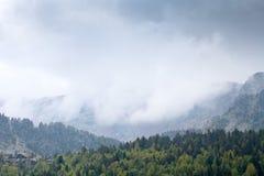 Los tops de árboles y montañas en la niebla Foto de archivo libre de regalías